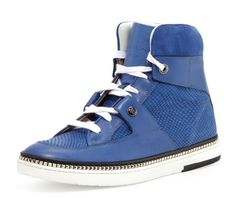 Jimmy Choo Barlowe Blue Viper Leather Sneaker 45 | 12 New in Box Snakeskin Shoes #JimmyChoo #FashionSneakers