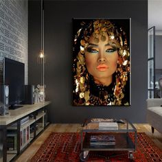 Bling Gold Makeup Woman Canvas Paintings Home Wall Art Posters and Prints Wall Pictures for Living Room Home Wall Cuadros Decor
