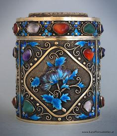 Chinese Silver Gilt Tea Caddy with Ornate Decoration in Enamel & Semi-Precious Stones - it has a Jade Lid♥♡♥