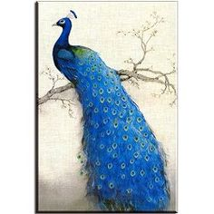 Peacock on Tree Painting $21.90 www.allthingspeacock.com - Peacock Wall Art