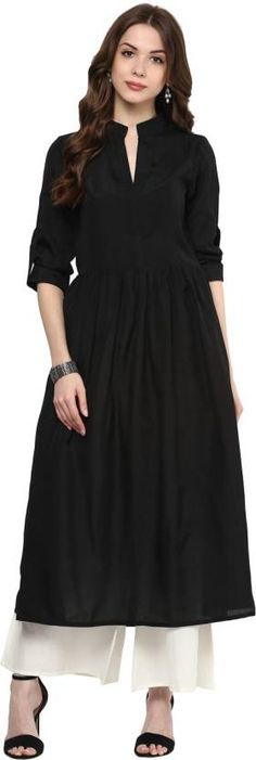 Gerua Solid Women's Anarkali Kurta #absolutefashionista #fashion #kurti #anarkali #black #women #womensfashion #fashionblogger Kurta Patterns, Frock Patterns, Kurta Designs Women, Blouse Designs, Kurtha Designs, Sleeves Designs For Dresses, Kurta Neck Design, Kurti Designs Party Wear, Dress Indian Style
