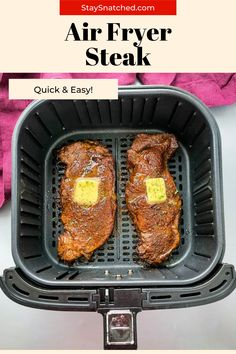 This Juicy Air Fryer Steak recipe is tender and made using a homemade rub for optimal flavor. Whether you're looking to cook your steak medium, medium-rare, etc. this is the recipe for you! Air Fry Recipes, Steak Recipes, Healthy Recipes, Air Fryer Steak, Marinated Steak, Air Fryer Healthy, Quick Easy Meals, Meal Planning, Fries
