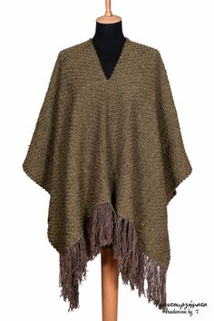 HANDWOVEN PONCHO|UNIQUE accessory|unique fabric|designer fabric|birthday gift|unisex accessory|fall colors|shepherd's style|cottage chic by HandwovenByT on Etsy