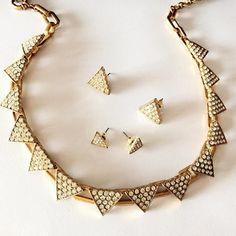 Crystal Pave Triangle Jewelry Set #triangle #jewelry #necklace #earrings #studs http://www.fanduoduojewelry.com-