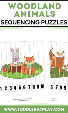 These Woodland Animals Sequencing Puzzles are fun, colorful and great for improving and exercising cognitive skills and fine motor skills. Sequencing puzzles help toddlers, preschoolers and kindergartners memorize number order, counting and more! You'll receive a PDF file with 10 puzzles! #woodlandanimals #sequencingpuzzles #kidsprintables #printables #preschool