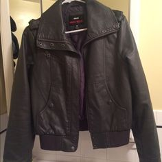 Charcoal gray leather jacket Cute and edgy charcoal gray jacket. Great over a white tee and black skinnies. Great condition.  Moving out of the country in February and need to get rid of clothes asap Miss Sixty Jackets & Coats