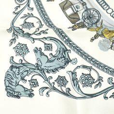 Authentic Hermes Logos Scarf Handkerchief White Vintage