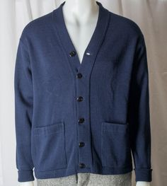 NOS Mens Navy blue wool cardigan. Union made 1960s Rugby Flintwist, label tag size 44 by TessiesOldOddities on Etsy