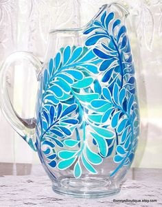 Fern water pitcher in blues and aqua