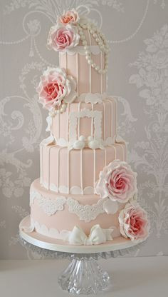 Vintage peach & pink birdcage cake by Cotton and Crumbs, via Flickr
