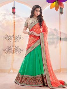 Innovative Green Orange Designer Lehenga Saree Buy Online krishna Emporia