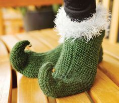 Knitted Elf Slippers - Craftfoxes