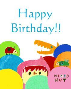 Natsuko Kawatsu / カワツナツコ / 2GIF Happy Birthday Greetings, List, Paper, Books, Fictional Characters, Image, Collage, Children, Libros