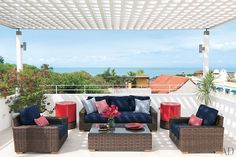 Lovely lattice covered patio overlooking the water.
