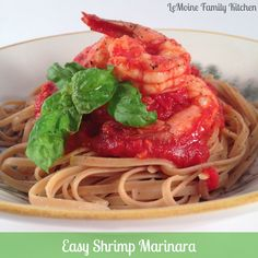 This Shrimp Marinara is easy to make with a very basic tomato sauce that simmers for a few hours. Stir in some large shrimp and cook just 6-8 minutes.