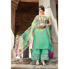 Green Cotton Indian #Plazzo Kameez With Dupatta- $48.36