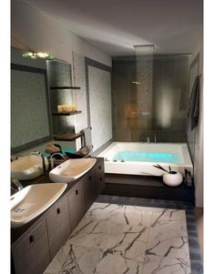 Luxurious bathroom with soaking tub