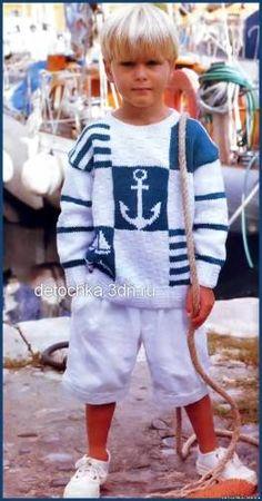 Детский пуловер с морскими мотивами связанный спицами - Вязание пуловеров для…