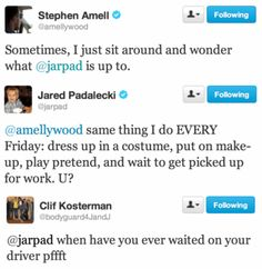 Stephen Amell, Jared Padalecki, and Clif Kosterman via Twitter
