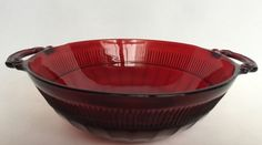 Vintage Ruby Red Depression Glass Coronation Pattern Bowl Anchor Hocking 6 Inch #Nappie