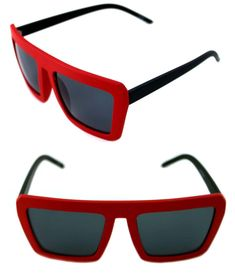 cdcffe1837c5 Men s Women s Square Shape Retro Vintage Sunglasses Matte Black Red 80 s  Hip Hop