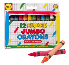 uper Jumbo Wax Crayons (12) from Alex Toys are thicker than traditional crayons meaning they are tough and can't easily break. They come in vivid colours with soft texture meaning it doesn't take a lot of pressure to see the bright colours. You don't have to worry about your kid colouring all over the house since the colours can be sponged off. The Alex toys Super Jumbo Wax Crayons (12) promotes your kid's creativity and guarantees fun at the same time.