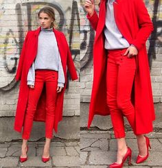 Beautiful scarlet trouser and coat ensemble for winter~
