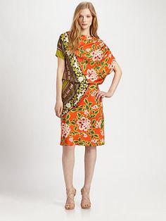 Josie Natori - Printed Silk Dress - Saks.com