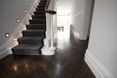 Chevron Hardwood Floors 1 My Nest Wood Floor Stairs Wood Floor Wood Floor Stairs, Wooden Stairs, Wood And Carpet Stairs, Stair Carpet, Carpet Runner On Stairs, Hall Flooring, Parquet Flooring, Flooring For Stairs, Wooden Flooring