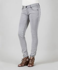 Loving this Gray Motorcycle Skinny Jeans on #zulily! #zulilyfinds
