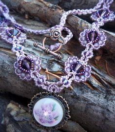 Purple Flower Victorian Necklace