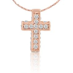 Gold Cross Necklace for Girls - 18k Gold Plated Cross Pendant Necklace with Rhinestones for Women in Box by SmitCo LLC http://www.amazon.com/dp/B00N2Z11RQ