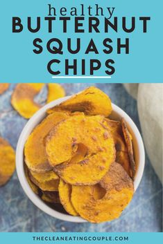 Healthy Butternut Squash Chips are perfectly crunchy + slightly sweet. Made with 4 ingredients, paleo, and vegan they're a great snack to satisfy cravings!#paleo #butternutsquash #healthy #chips #vegan