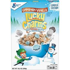Chocolatey Winter Lucky Charms are a Limited Edition Flavor! With marshmallow shapes including snowmen, snowballs and snowflakes! Made without high fructose corn syrup, these chocolatey flavored corn pieces are great with Marshmallows! Oat Cereal, Breakfast Cereal, Cereal Boxes, Marshmallow Cereal, Types Of Cereal, Lucky Charms Cereal, Whole Grain Foods, Cereal Killer, General Mills