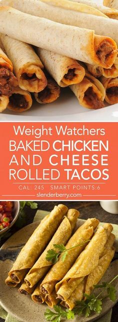 Weight Watchers Baked Chicken and Cheese Rolled Tacos Smart Points 24 . - Weight Watchers Baked Chicken and Cheese Rolled Tacos Smart Points 245 Calories # - Weight Watchers Snacks, Poulet Weight Watchers, Weight Watcher Dinners, Weight Watchers Chicken, Ww Recipes, Mexican Food Recipes, Chicken Recipes, Cooking Recipes, Healthy Recipes