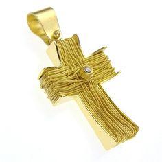Damaskos 18k Gold Diamond Ropes Western Cross,18k Gold and a Diamond. Athena's Treasures, www.athenas-treasures.com
