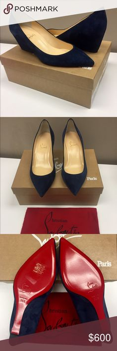 Christian Louboutin Pipina 55 Veau Velours Wedges ** Brand New with tags, box and dustbag **    Authentic, chic, sophisticated and sleek pointed toe navy blue suede wedges perfect for the work day or a night out! They are currently sold out in stores and would be a great addition to your wardrobe!     - New with tags, box, and dust bag  - Size 38.5 Regular   - Heel Measures 55 mm / 2.2 inches  - Smooth Calf Suede   - Made in Italy    * Please feel free to message me if you have any…