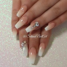 Faded French coffin set with some bling ✨. Thanks for coming Hun. Wedding Nails For Bride, Wedding Nails Design, Bride Nails, Prom Nails, Bling Wedding Nails, French Fade Nails, French Gel, Faded Nails, Faded French Manicure