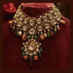 The Sabyasachi jewellery room in Calcutta is a collector's delight. Crammed with antiques, curios, old china, hand-painted chandeliers and vintage carpets. Featured here: Statement choker with large uncut diamonds set amidst baroque pearls, old corals, emeralds and tourmalines. For all jewellery related queries, kindly contact sabyasachijewelry@sabyasachi.com #Sabyasachi #SabyasachiJewelry #TheWorldOfSabyasachi #SabyasachiStores #SabyasachiCalcutta @sabyasachicalcutta