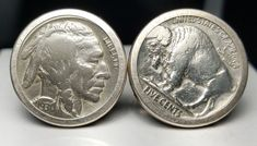 ESTATE STERLING SILVER ROUND BUFFALO NICKEL CUFFLINKS-925-HEADS & TAILS! #Unbranded