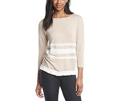Kensie Womens Fringe Sweatshirt Medium beige >>> Click on the image for additional details.  This link participates in Amazon Service LLC Associates Program, a program designed to let participant earn advertising fees by advertising and linking to Amazon.com.