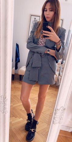 Street style,outfit,grey , casual Denim Skirt, Street Style, Fashion Outfits, Grey, Casual, Skirts, Gray, Fashion Suits, Skirt