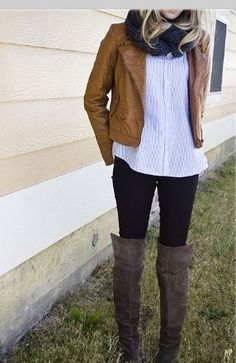 Frye over the knee suede boot. caramel leather jacket, infinity scarf & light blouse . perfect for a football game, or shopping. in love w this look.!