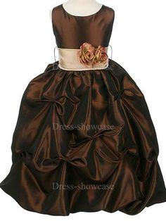Fall  flower girl dresses | ... Dark Brown Taffeta Ball Gown Flower Girl Dress -Flower Girl Dresses
