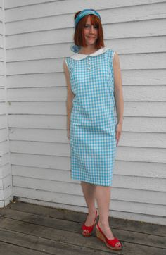 Vintage 60s Gingham Dress Blue White Cotton Casual by soulrust, $29.99