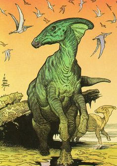 Parasaurolophus By William Stout 1992