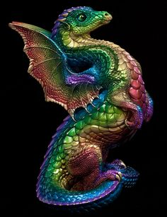 Rising Spectral Dragon - Rainbow. Painted Fantasy Figurine $262.00 #dragon #figurine #statue
