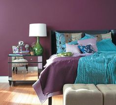 bedroom moodboards with plum, grey, mustard and teal/navy - Google Search