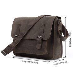 7089J - Grey Leather Messenger Bag for Men - Measurements