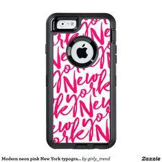 Modern neon pink New York typography pattern OtterBox iPhone 6/6s Case